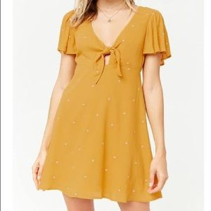 F21 • Embroidered Tie-Front Dress
